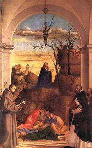 De biddende Jezus Christus in de Tuin van Gethsemane (Lukas 22:39-46) -  1516 Marco Basaiti (1470–1530)