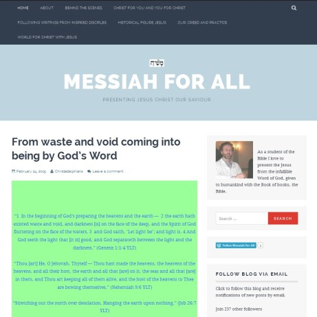 Messiah For all - Website created by Marcus Ampe in February 2015 to bring people to the real Jesus, the Kristos: Christ or Messiah