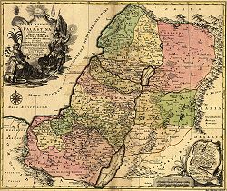 A 1759 map entitled The Holy Land, or Palestine, showing not only the Ancient Kingdoms of Judah and Israel in which the 12 Tribes have been distinguished, but also their placement in different periods as indicated in the Holy Scriptures by Tobias Conrad Lotter, Geographer. Augsburg, Germany